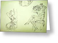 Agony And Atlas Sketch Of Him Throwing The World Onto Her As He Transforms Life Burden To Freedom Greeting Card