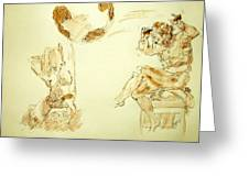 Agony And Atlas Sketch Watercolor Throwing The World As He Transforms Life From A Burden To Freedom Greeting Card