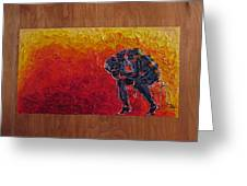 Agony Doubled Over In Flames On Wood Panel Greeting Card