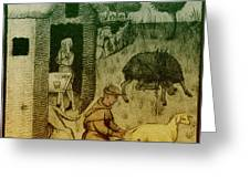 Agriculture, Medieval Farming Greeting Card