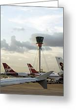 Air Traffic Control Tower, Uk Greeting Card by Carlos Dominguez