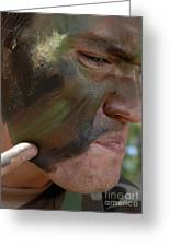 Airman Applies War Paint To His Face Greeting Card