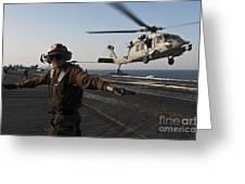 Airman Checks For A Clear Deck As An Greeting Card