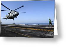 Airman Directs An Eh-101 Merlin Greeting Card