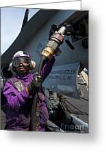 Airman Fuels An Fa-18c Hornet Greeting Card