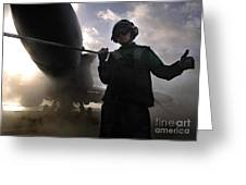 Airman Holds Up The Safety Shot Line Greeting Card by Stocktrek Images