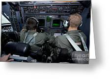 Airmen At Work In A Mc-130h Combat Greeting Card