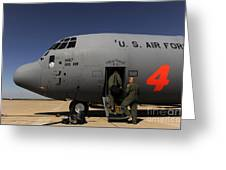 Airmen Board A C-130j Hercules At Dyess Greeting Card