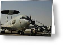 Airmen Prepare A U.s. Air Force E-3 Greeting Card