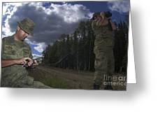 Airmen Use A Range Finder And Gps Unit Greeting Card