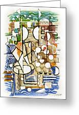 Akko Port Landscape Abstract Blue Green Ocean Water Sun Sky Brown Yellow Colorful City Beach Light Greeting Card