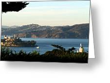 Alcatraz Island American Flag Greeting Card