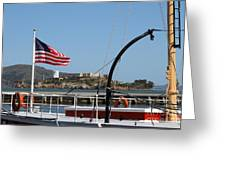 Alcatraz Island Through The Hyde Street Pier In San Francisco California . 7d14163 Greeting Card
