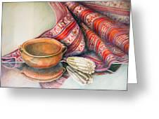 Alfareria Sobre Aguayo Con Choclo Greeting Card