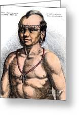 Algonquian Man, 1645 Greeting Card