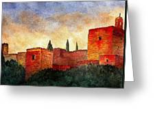 Alhambra At Sunset Greeting Card by Barbara Smith