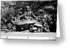 Alice In Wonderland In Central Park In Black And White Greeting Card