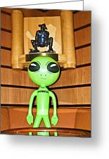 Alien In The Corner Booth Greeting Card