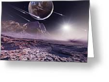 Alien Meteorite Shower, Artwork Greeting Card by Detlev Van Ravenswaay