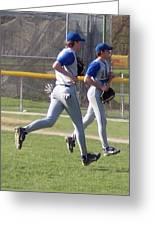 All Air Baseball Players Running Greeting Card