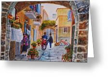 Alley Chat Greeting Card