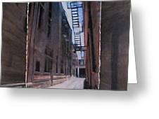 Alley With Fire Escape Layered Greeting Card