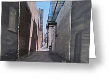 Alley With Guy Reading Layered Greeting Card by Anita Burgermeister
