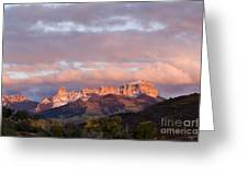Alpenglow On The Cimarron Mountains - D003083a Greeting Card