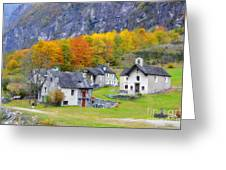 Alpine Village In Autumn Greeting Card