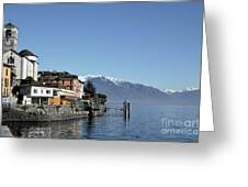 Alpine Village On The Lake Front Greeting Card