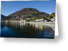 Alpine Village Reflected In The Lake Greeting Card