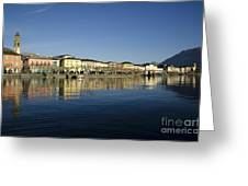 Alpine Village Reflected In The Water Greeting Card