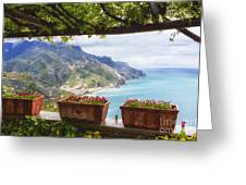 Amalfi Coast Vista From Under A Trellis Greeting Card