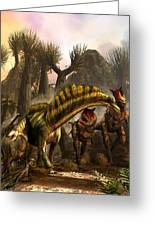 Amargasaurus Facing Carnotaurus Greeting Card