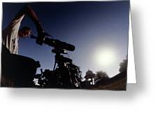 Amateur Astronomer Observing A Solar Eclipse Greeting Card by Dr Fred Espenak