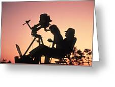 Amateur Astronomers With Meade 2080 20cm Telescope Greeting Card