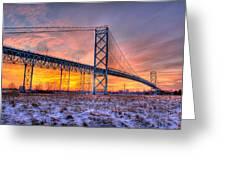 Ambassador Bridge Sunrise 1-16-2012  Detroit Mi Greeting Card