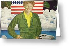 Amelia Earhart Calendar Art Greeting Card