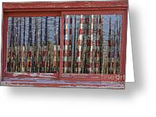 America Still Beautiful Red Picture Window Frame Photo Art View Greeting Card