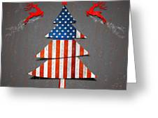 America X'mas Tree Greeting Card by Atiketta Sangasaeng