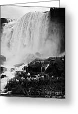 American Falls With Cave Of The Winds Walkway Niagara Falls New York State Usa Greeting Card