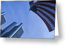 American Flag And Renaissance Center In Detroit, Michigan Greeting Card by Will & Deni McIntyre