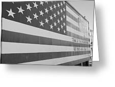 American Flag At Nathan's In Black And White Greeting Card
