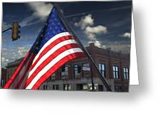 American Flag Flowing In Urban Landscape Greeting Card