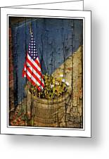 American Flag In Flower Pot - 1 Greeting Card