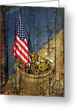 American Flag In Flower Pot - 2 Greeting Card