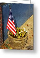 American Flag In Flower Pot - 3 Greeting Card