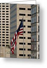 American Flag In The City Greeting Card
