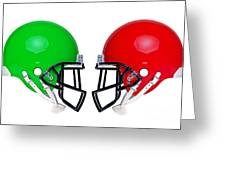 American Football Helmets Isolated Greeting Card by Richard Thomas