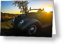 American Hot Rod Sunset Greeting Card